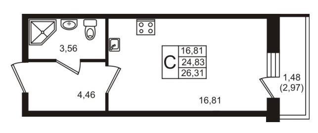 Планировка Студия площадью 24.6 кв.м в ЖК «Мой город»