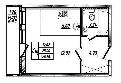 Планировка Студия площадью 24.4 кв.м в ЖК «Мой город»