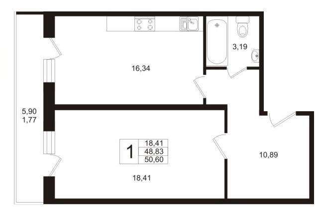 Планировка Двухкомнатная квартира (Евро) площадью 48.83 кв.м в ЖК «Мой город»