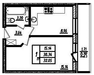 Планировка Однокомнатная квартира площадью 30.1 кв.м в ЖК «Мой город»